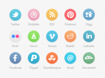 Circle Social Icons Set: 35 Social Media Icons in PSD & PNG