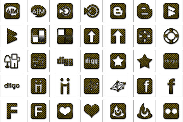 Yellow Black Striped Grunge Construction Icons Social Media Logos